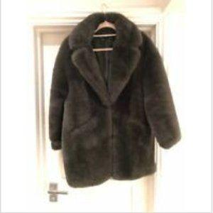 Zara green faux fur coat